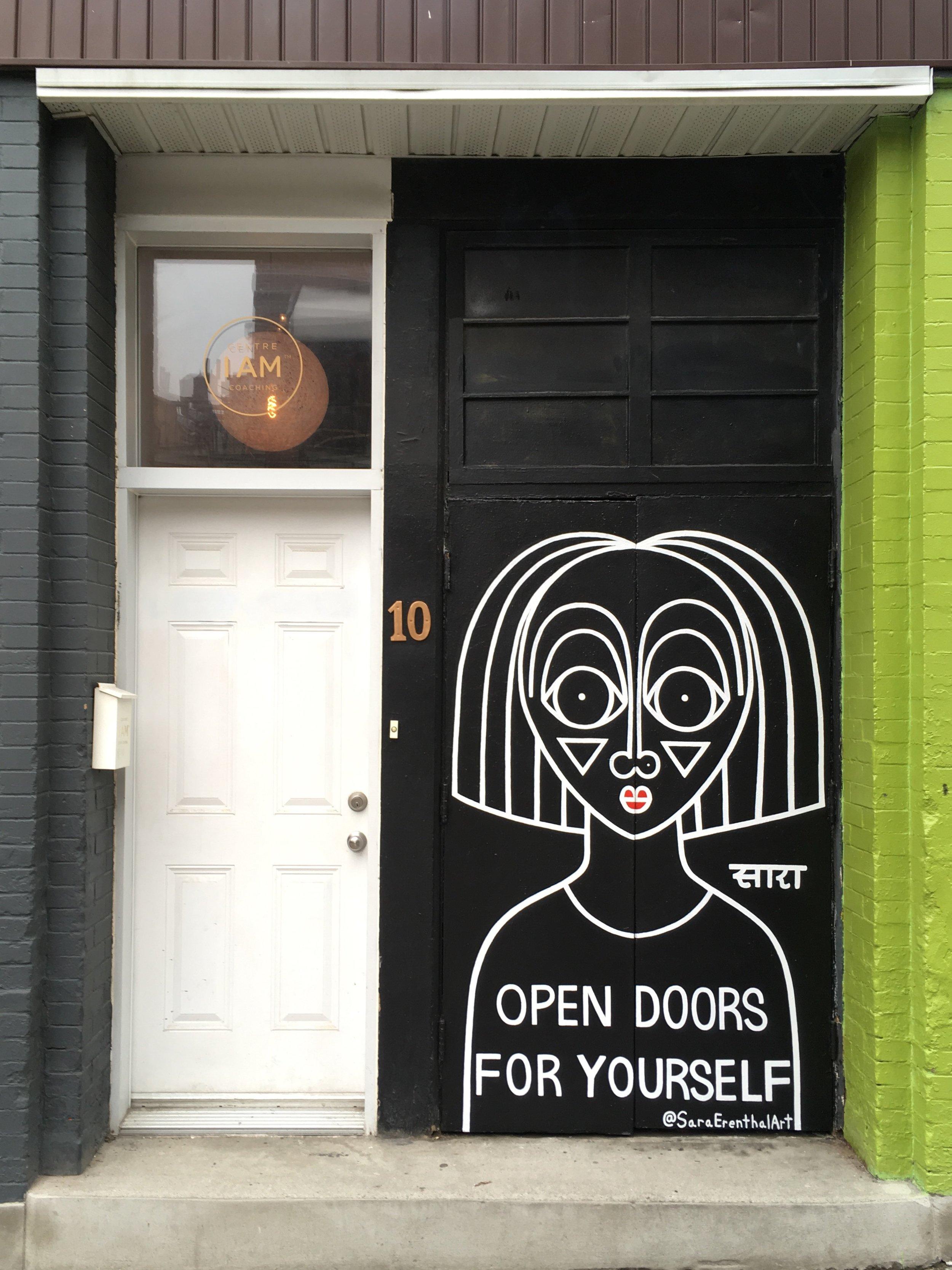 Double door mural in Montreal, Canada  2018