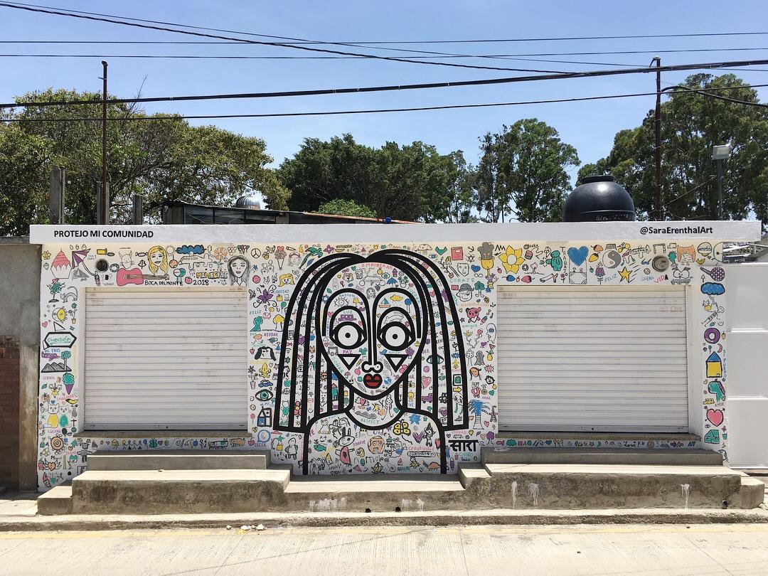 Mural in collaboration with children of non-profit org  Protejo Mi Comunidad , in Boca Del Monte Guatemala  2018