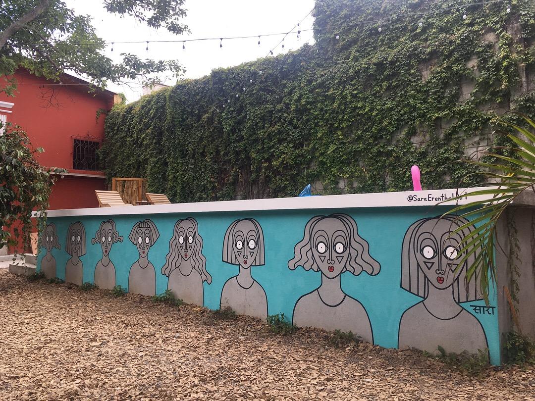 Pool mural in Selina Hostel, Antigua Gautemala  2018
