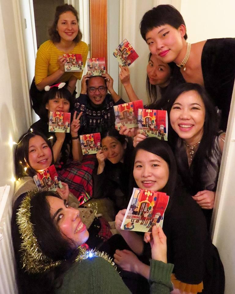 Mis amigos con mis tarjetas de navidad, 2016 /  My friends with my Christmas cards, 2016