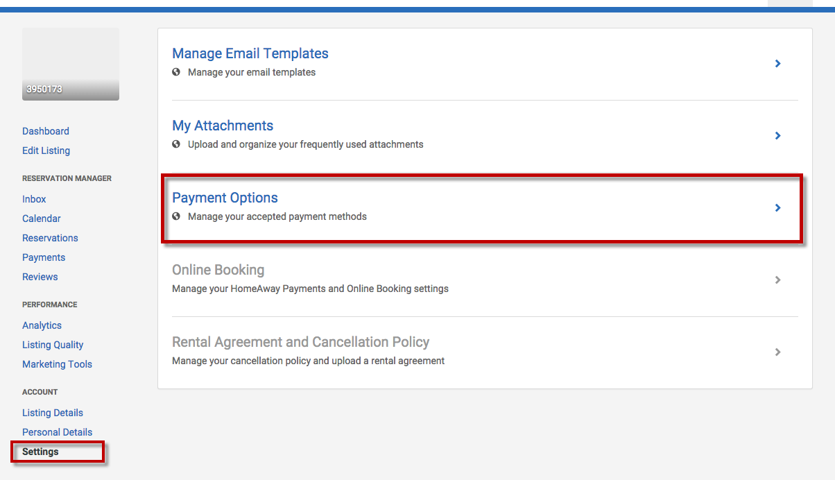 Ignore the Red Box around Payment Options, you want to click on the top one: Manage Email Templates!