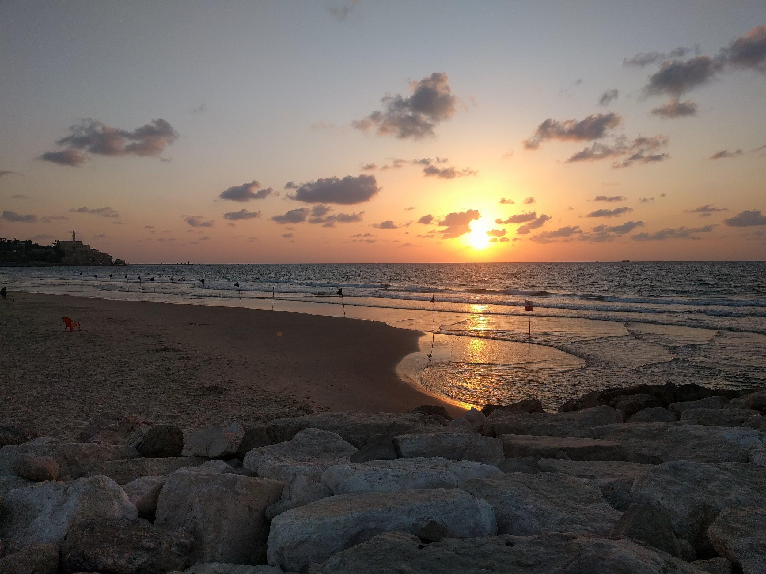 Sunset from the boardwalk in Tel Aviv