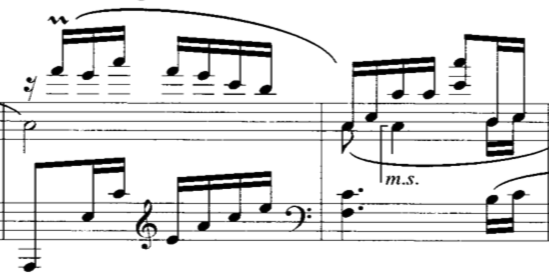 """Excerpt from """"Liu Yang River"""", composed by Wang Jianzhong. Measures 17-18 of page 1."""