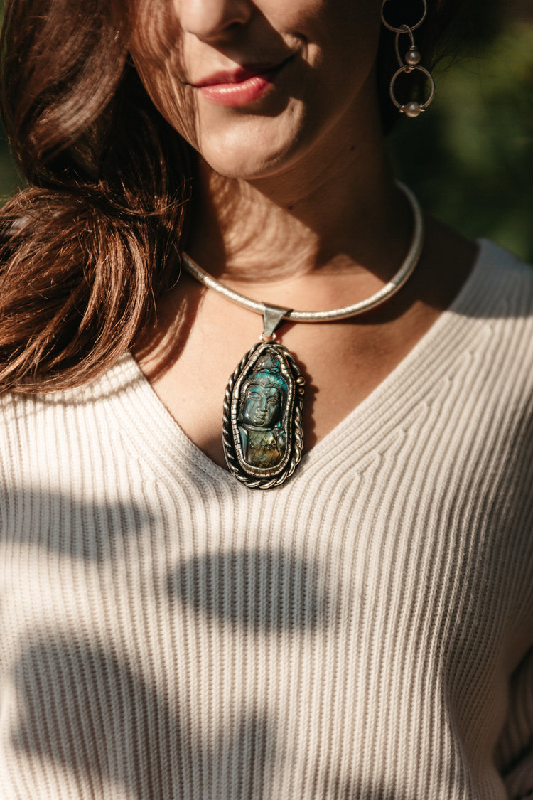 Labradorite Goddess of Mercy Pendant Jet Couture Jewels