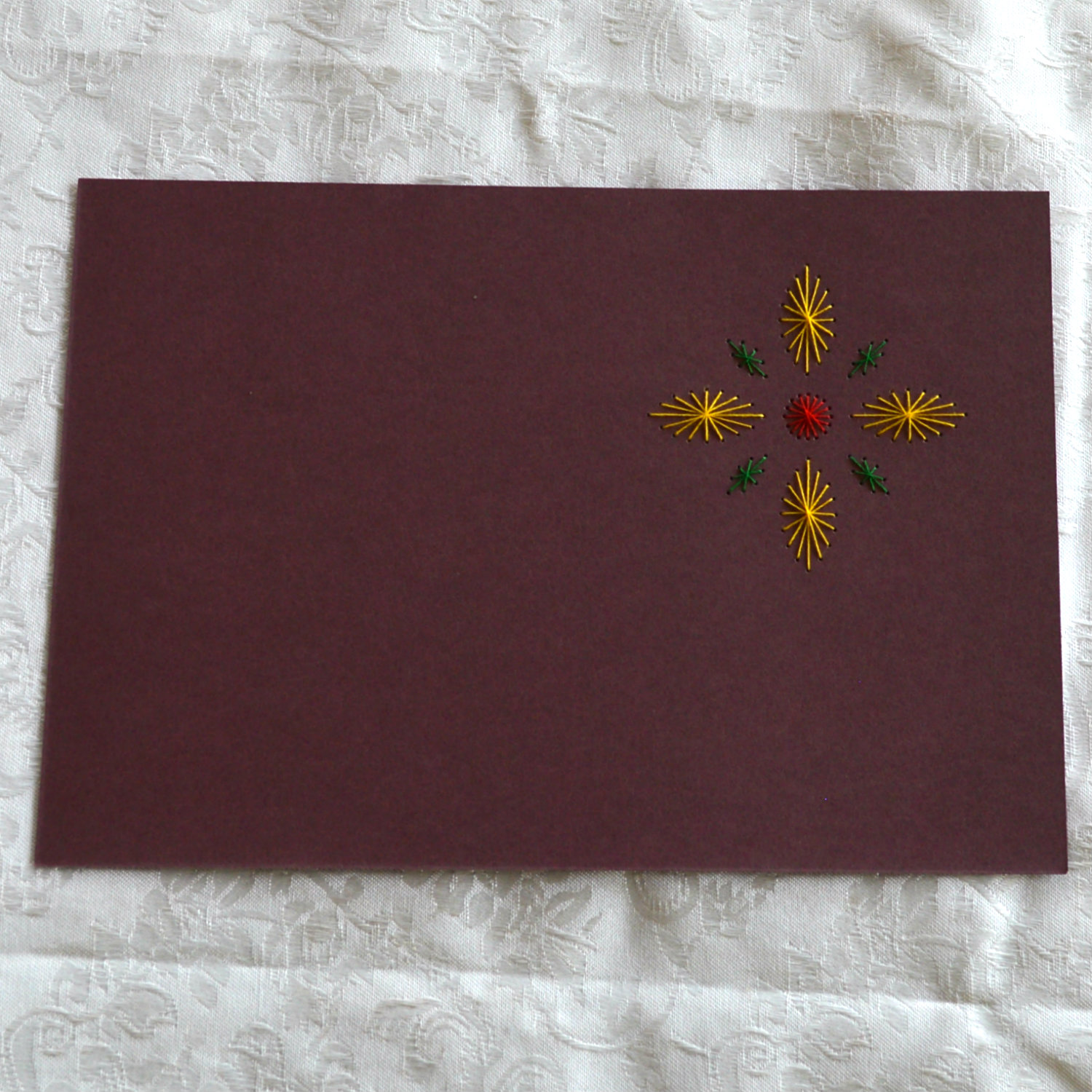 As this is Standard Greeting Card Blank size, you can just secure additional paper inside to hide your stitching.