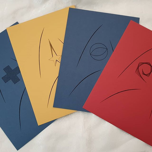 Really happy with my new Star Trek inspired Card Embroidery designs. Kits available to order on my website. Www.pirate-dragon.com #startrek #cardembroidery #geekcraft