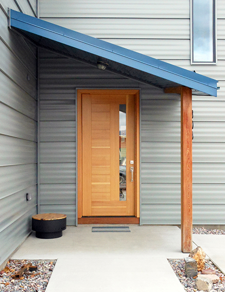 Front door, Missoula, MT.  4 x 8 feet, pivot hinge, fir.