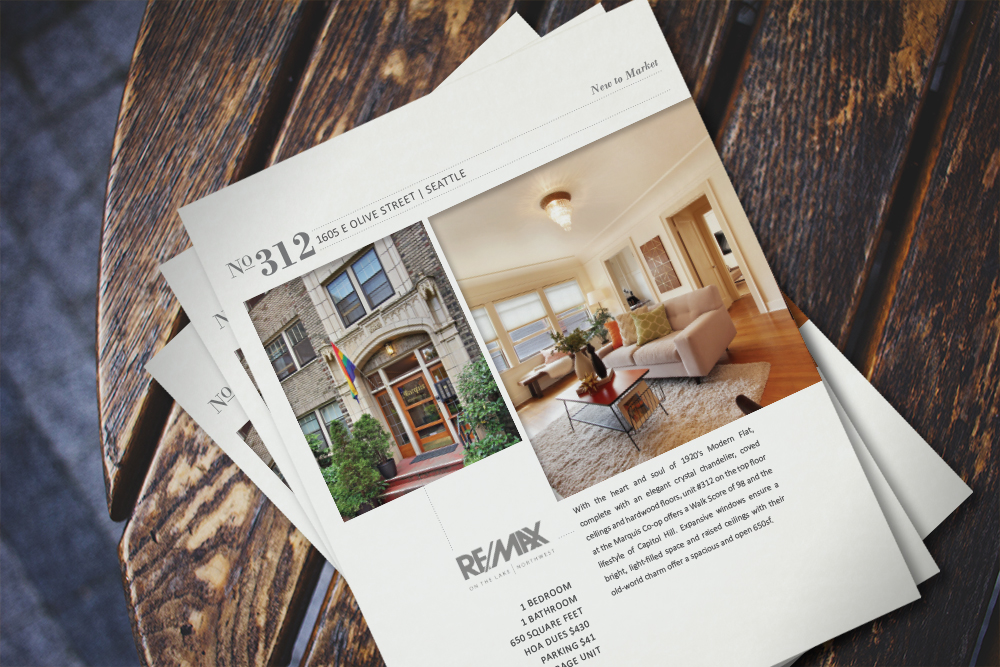FLYERS: Design for Seattle Condo, Matt Martel, RE/MAX Northwest