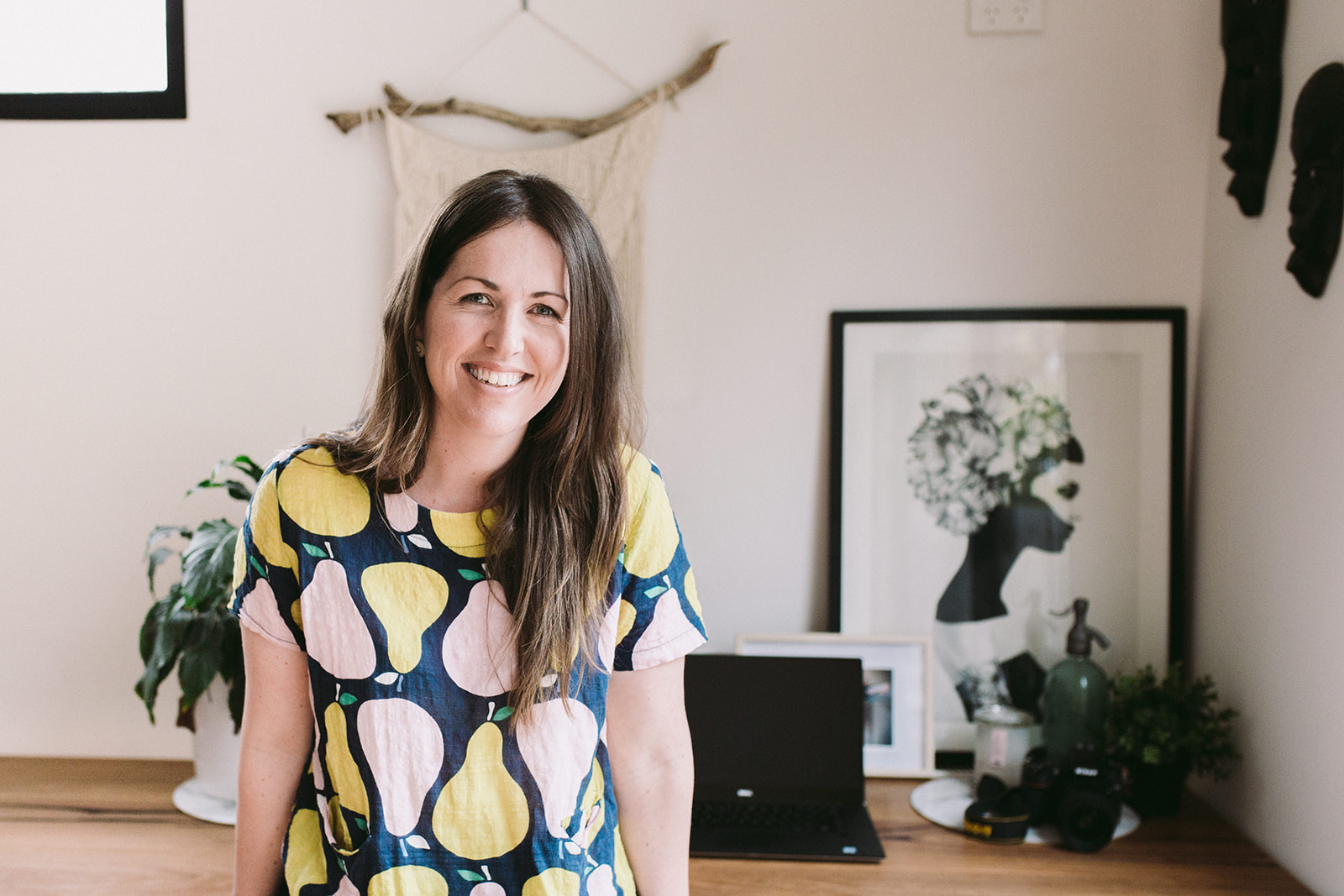 Often I work from home in my PJs on the couch…sometimes I get dressed and sit at my desk like a grown up! Image credit: Lecinda Ward Photography