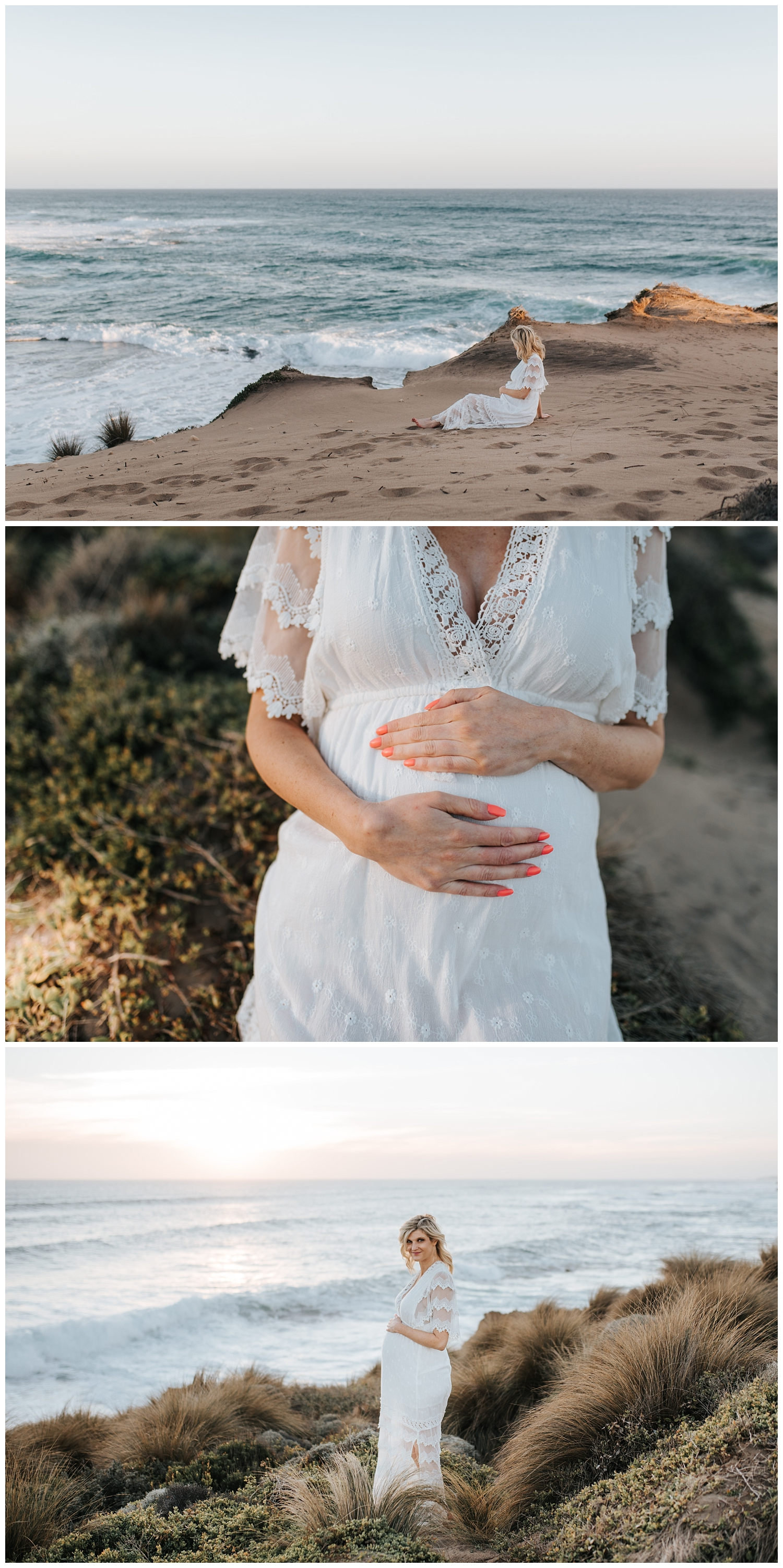 beautiful maternity photos on the beach in melbourne
