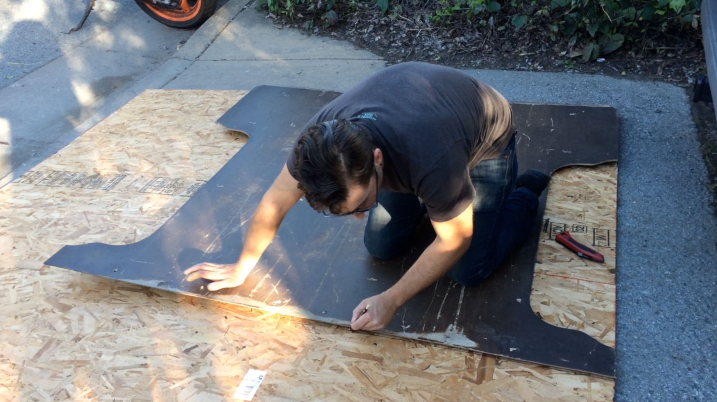 Use the old subfloor to trace a pattern for the new subfloor