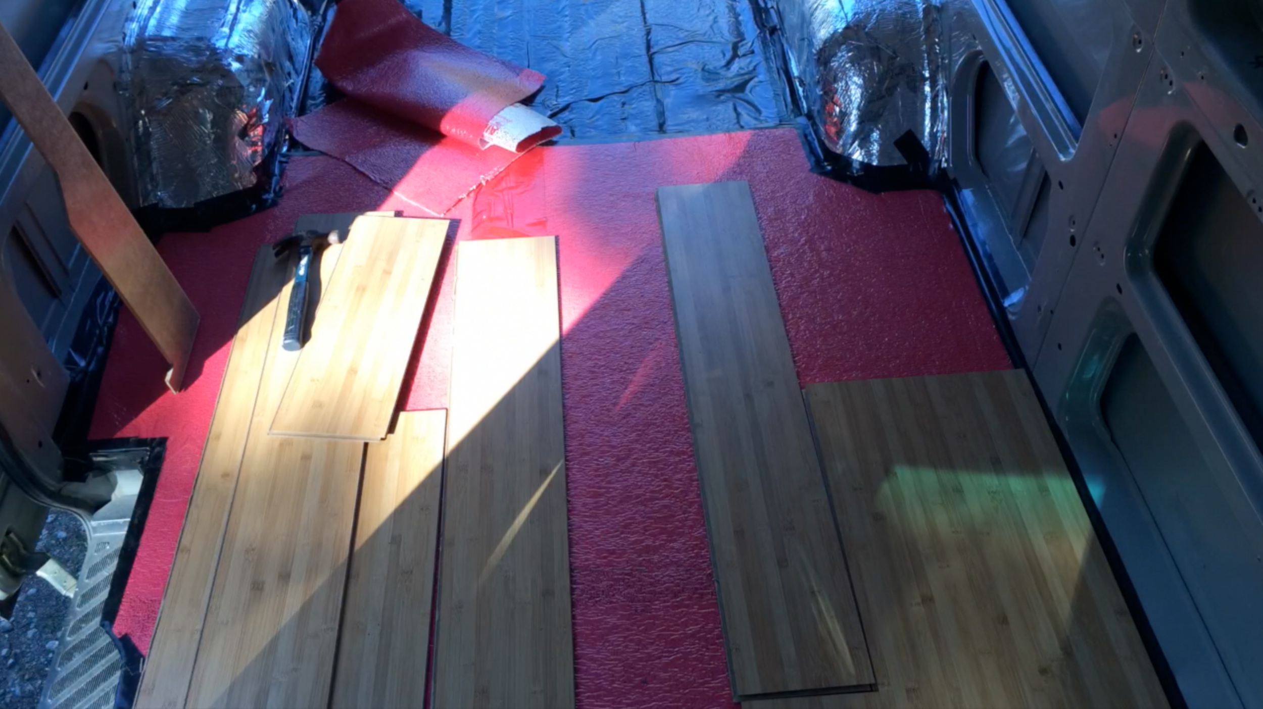 Subflooring in process of being installed