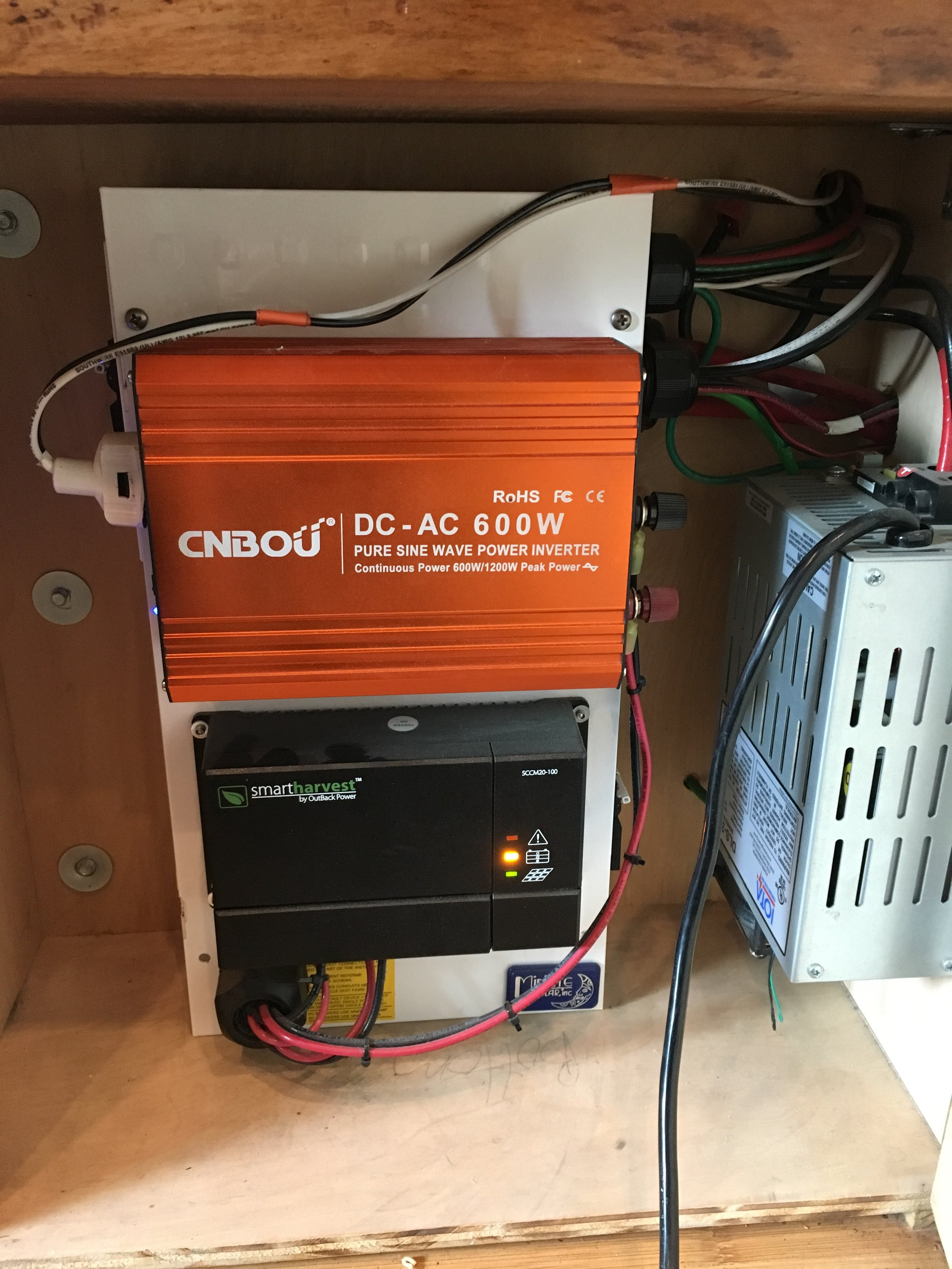 The Inverter and the Charge Controller are mounted on the front of the breaker box