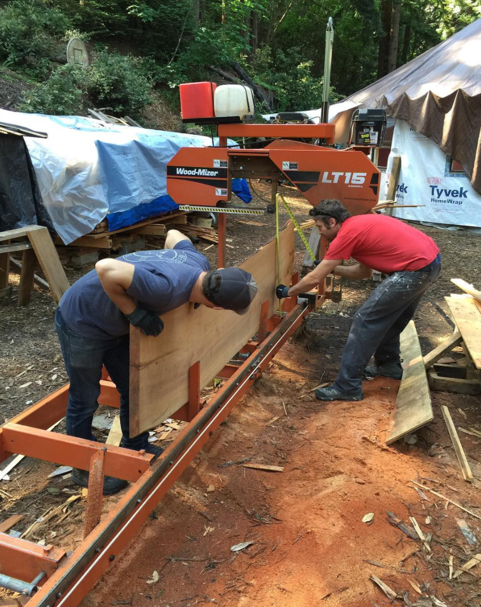 Cutting the madrone slab to fit