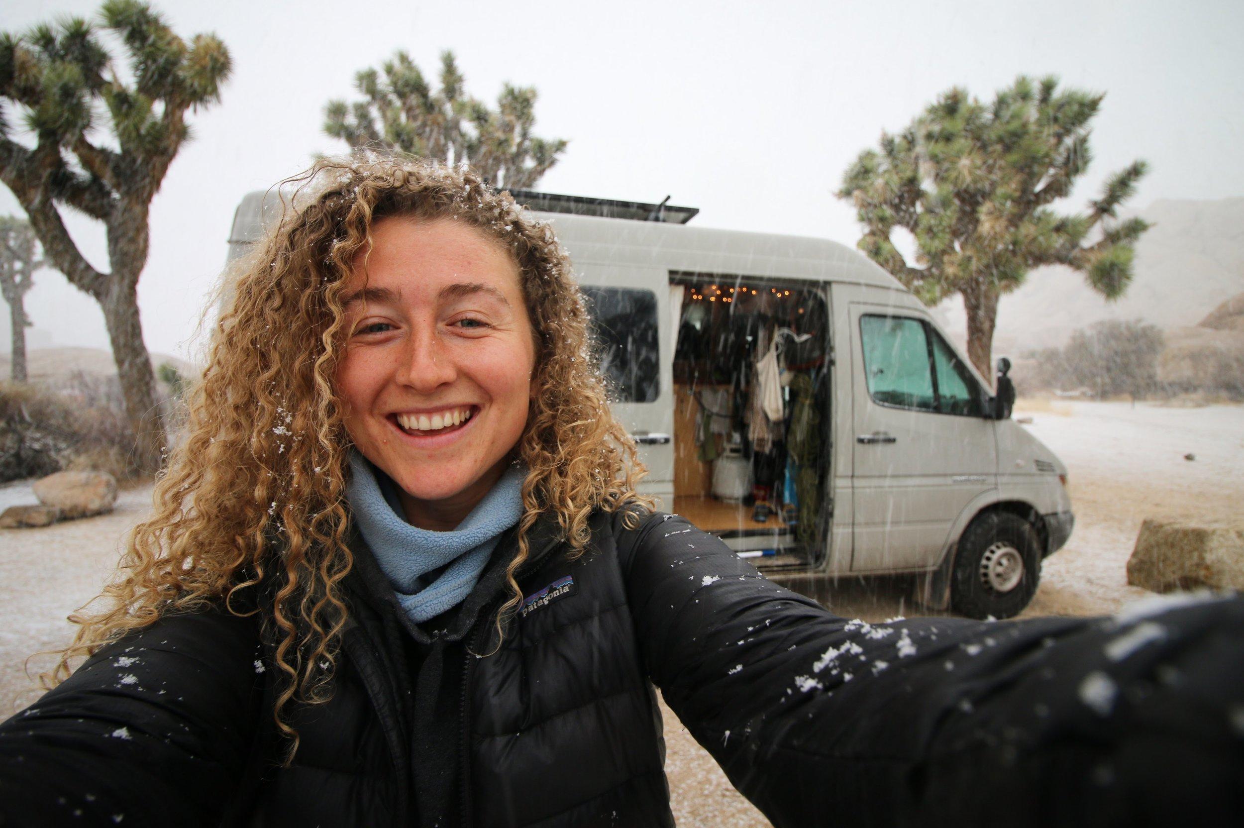 One Chick Travels Selfie with Van in Joshua Tree