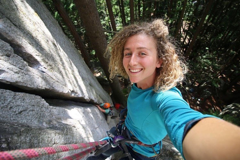 One Chick Travels rock climbing selfie