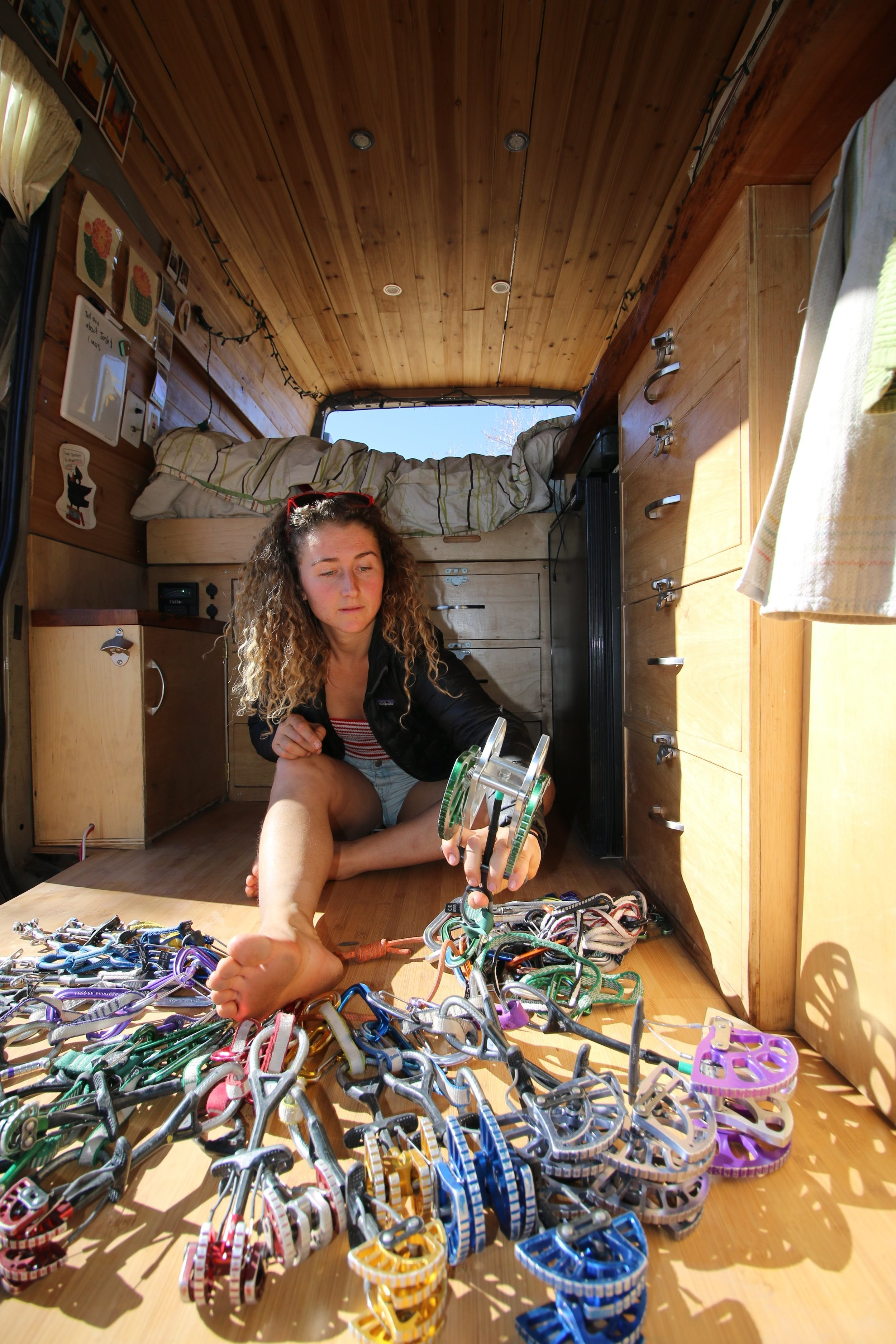 One Chick Travels in van with Cams