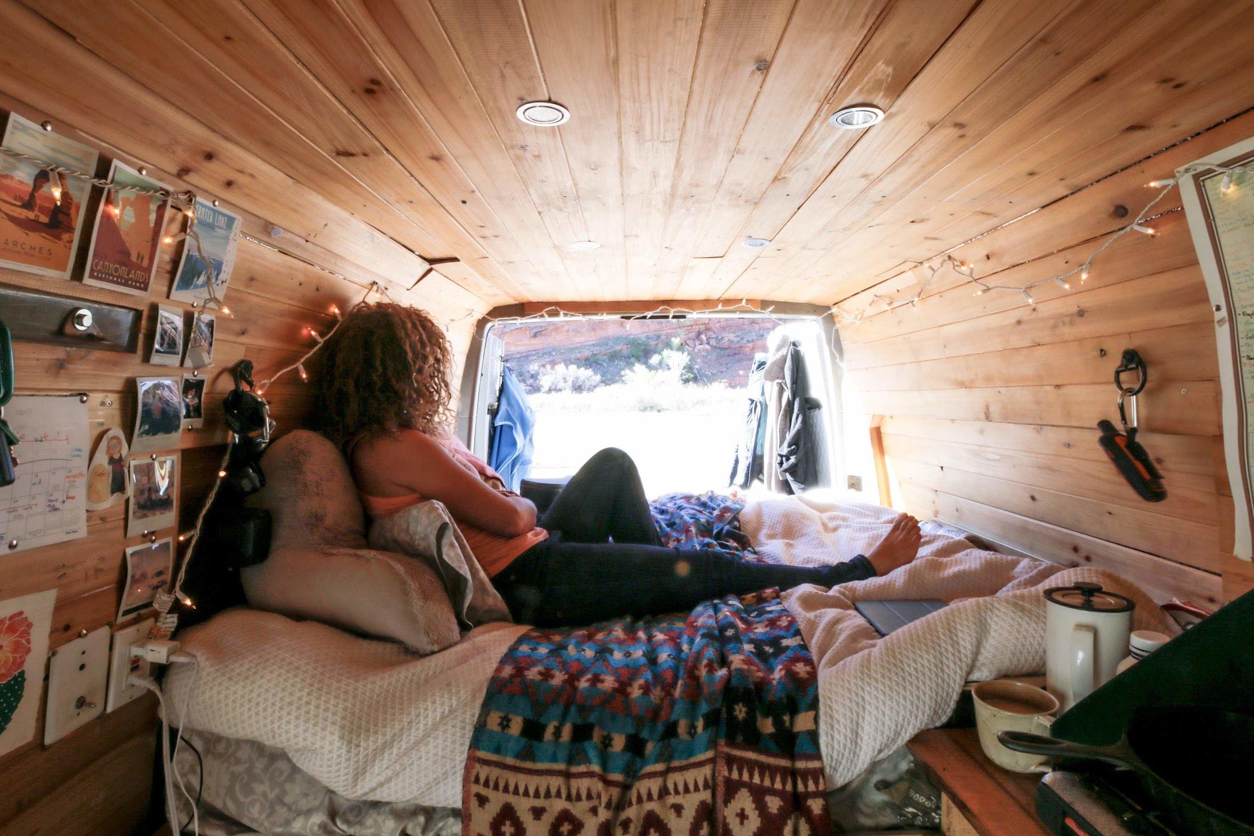 One Chick Travels Van back doors open