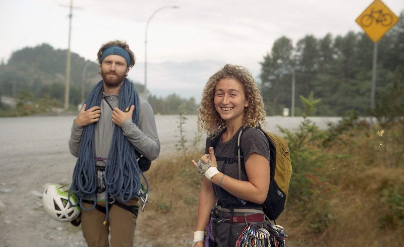 Kaya and Alex climbing in Squamish