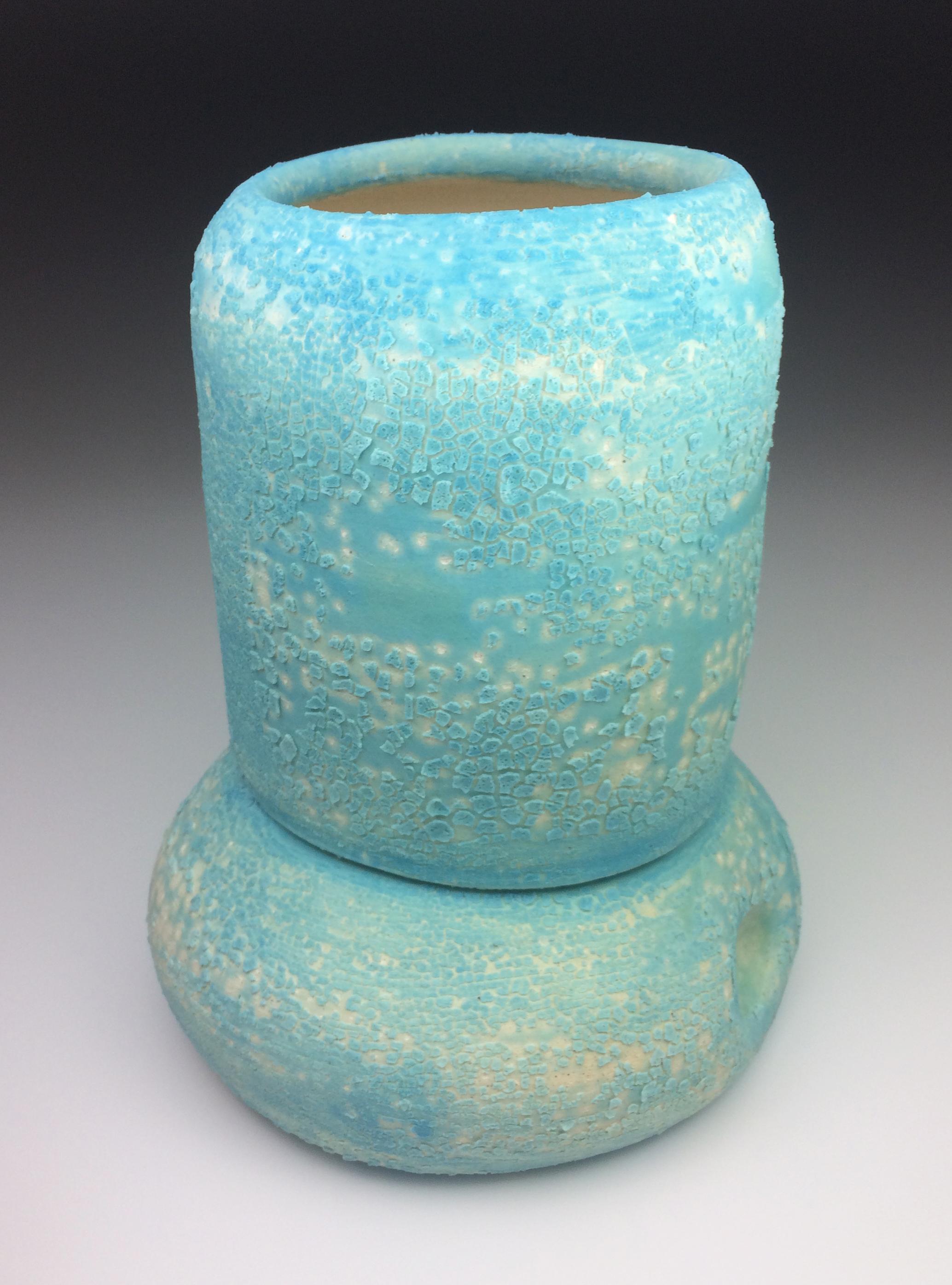 """Andros   Cone 06 White Earthenware    MNO lichen glaze.   8 x 6.5 x 6.5"""", 2016"""