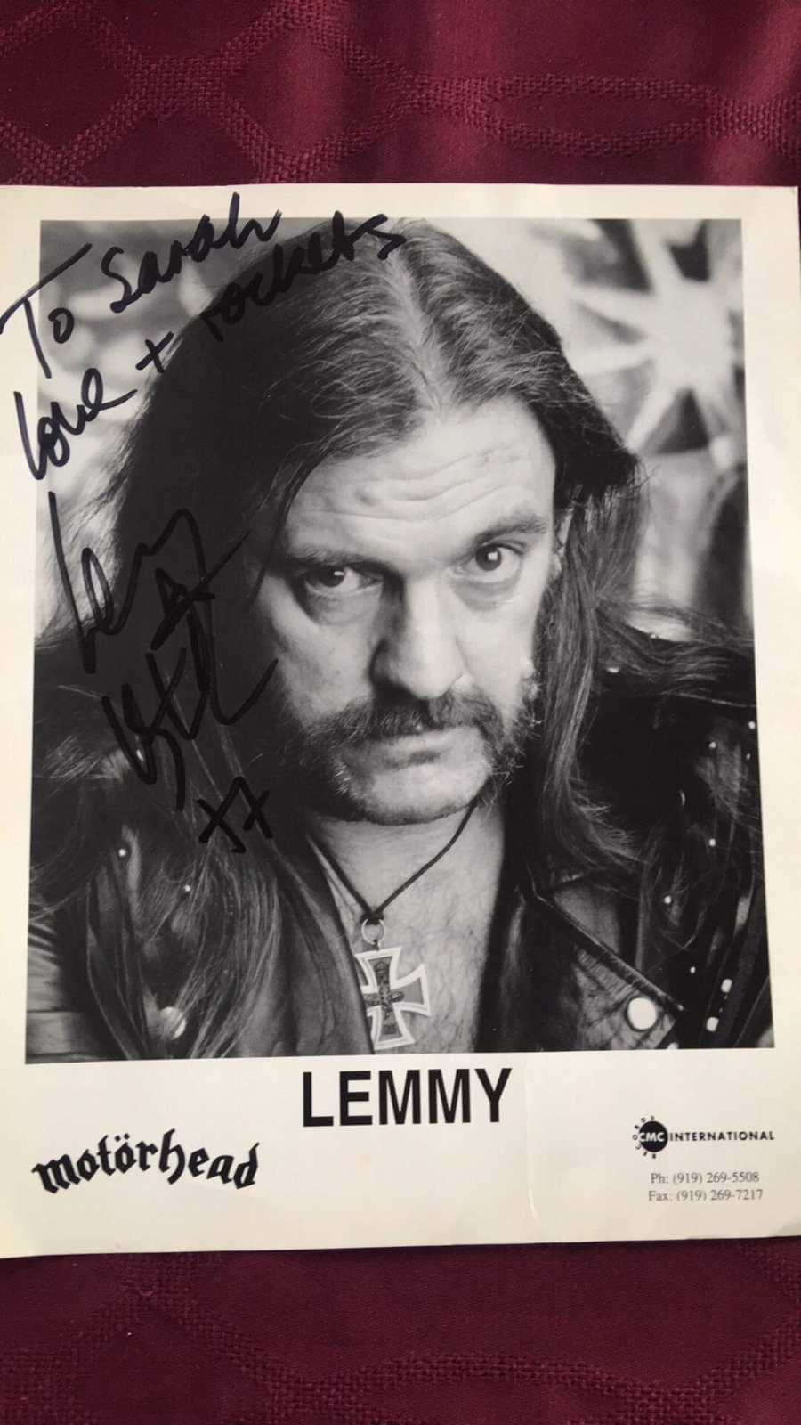 Lemmy's Autographed Photo - Some dude that probably bought a storage locker unit at auction started pulling a bunch of crap out of his U-Haul when this gem literally flew out of a box thanks to a gust of wind. Thanks Sarah!Paid $1