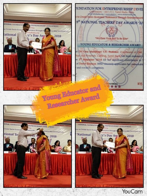 Dr. T.N.Uma maheswari received Young Educator and Researcher award on 9th National Teacher's Day Awards 2018 awarded by NFED(NATIONAL FOUNDATION ENTREPRENEURSHIP DEVELOPMENT)