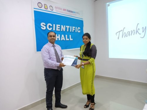 Post graduate student Dr.R.Jayapriya getting the 'Best Paper Award' for the paper on 'Genetic Mutation analysis in Cherubism - A case report' in National PG Convention 2018 held at Vijayawada