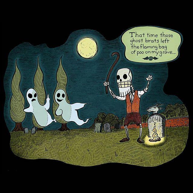Ghost Brats ©2019 John McRandle Informal poll: which version do you like better, the color or black and white?  #illustration #penandink #digitalart #ghosts #graveyard #horror #skeleton #prank #monsters
