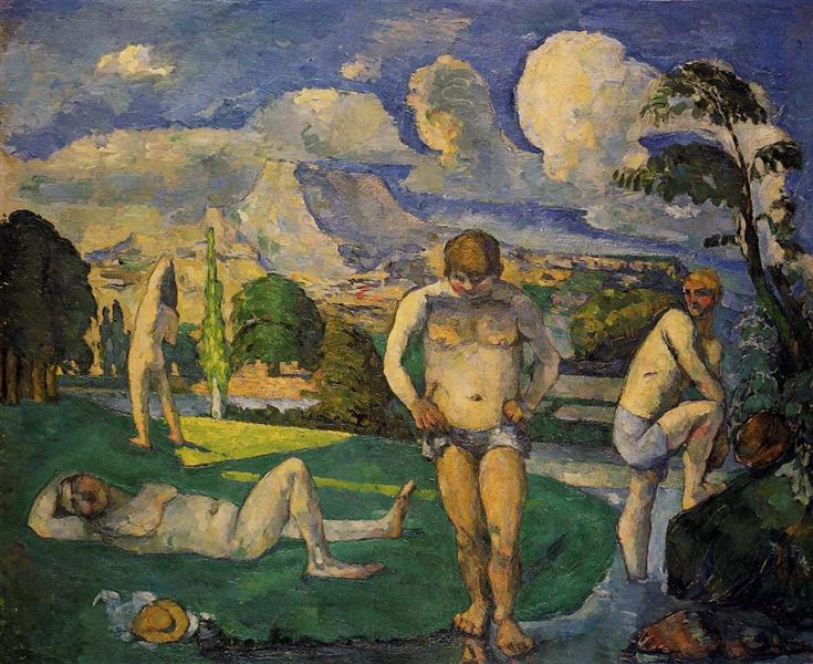"From  The Barnes Foundation  commentary on 'Bathers at Rest' by Paul Cezanne: ""How they could make any sense of this in 1877, I can't imagine. It must be like it fell from the sky. . . . Critics reacted to the strange anatomies of the figures . . . . The most interesting moment is that bright green triangle on the grass. Instead of representing light as it looks to the eye, he's developing his own idiosyncratic vocabulary for representing nature."""