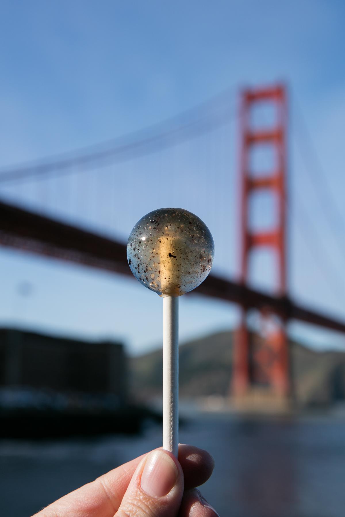 Half Lit Cannabis-Infsued Organic Lollipop Golden Gate Bridge Calming Caramel .jpg