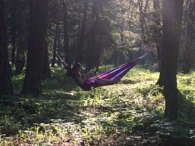 farmer in a hammock in Mazama