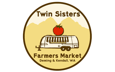 Twin Sisters Farmers Market   Our mission is to increase access to locally grown and affordable food in the foothills region of Whatcom County. We are a cooperatively run mobile market that serves Nugents Corner and Kendall every Saturday from June through October with our converted flat bed trailer.