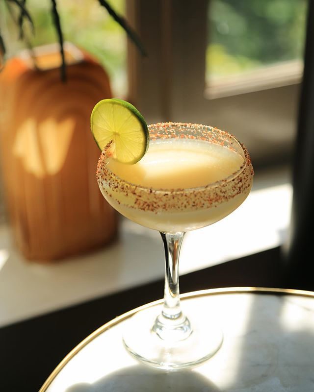 Going-To-the-Sun Road w/ Sweet corn infused tequila, @anchoreyes , Agave, Lime, and a Tajin salt rim