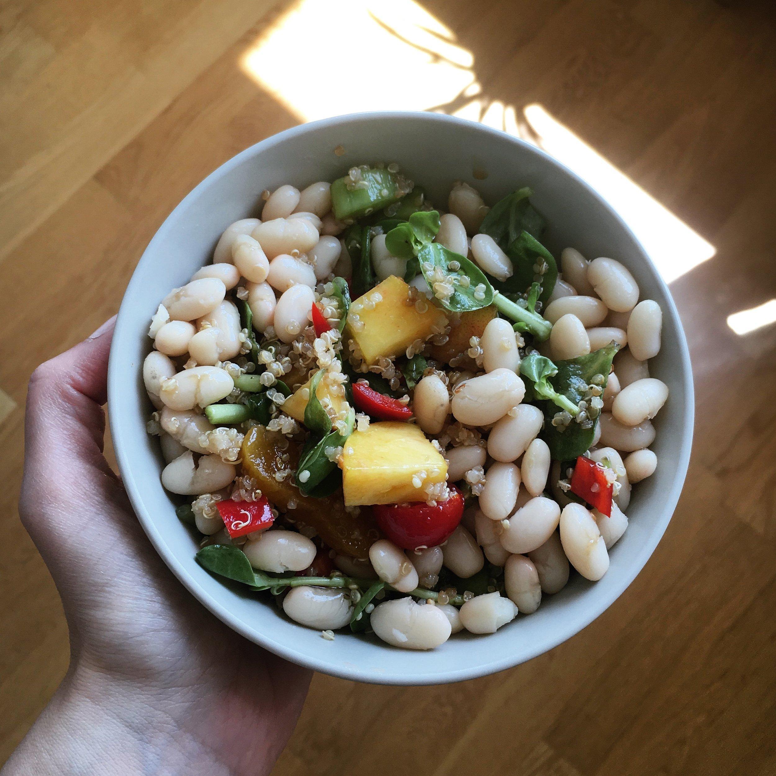 Tok tutan vejetaryen protein; konserve veya haşlanmış fasulye, kinoa, semizotu, çeri domates, şeftali. Limon ve zeytinyağı ile.