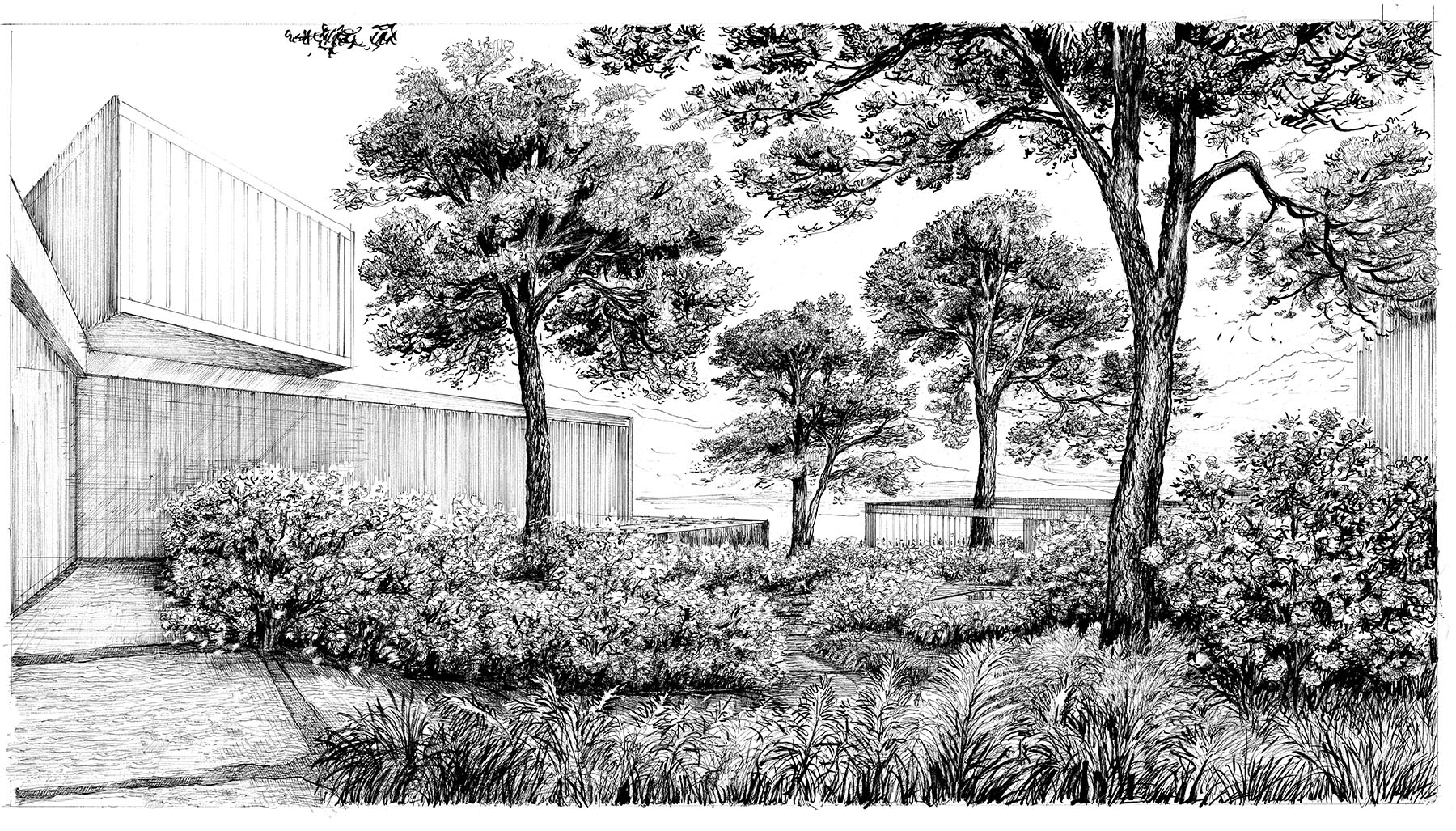 courtyard perspective (drawn by bruno moser/ enea landscape architecture)