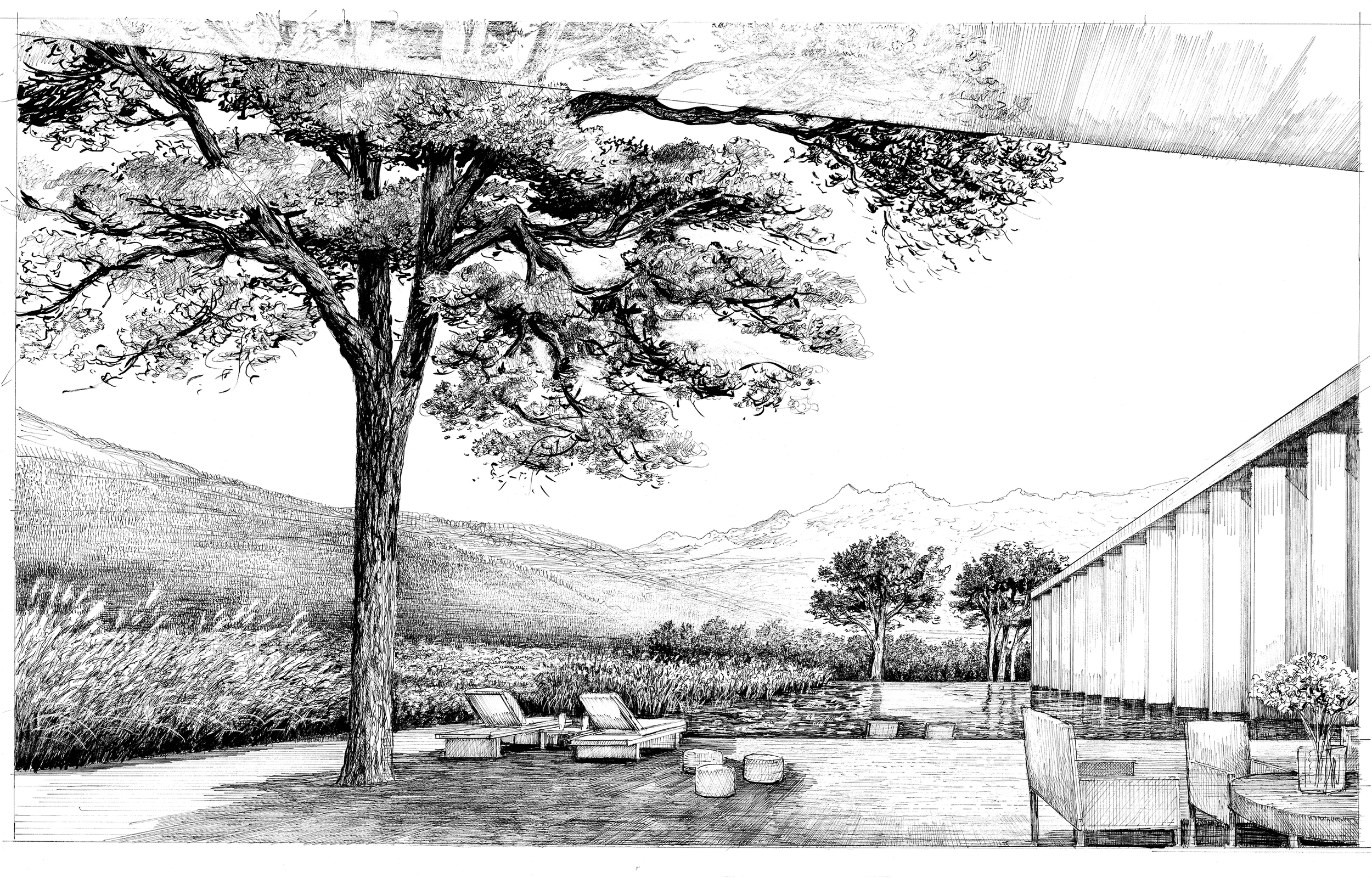 pool terrace perspective (drawn by bruno moser/ enea landscape architecture)