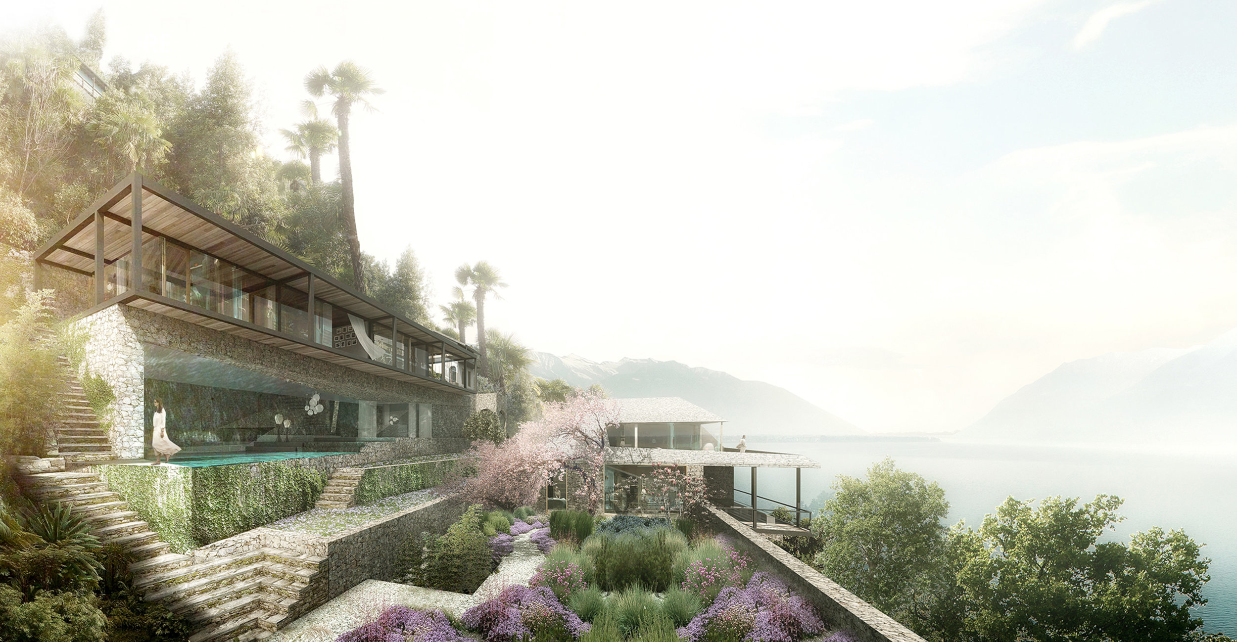 main villa and garden view (www.oppenoffice.com, render by Luxigon)