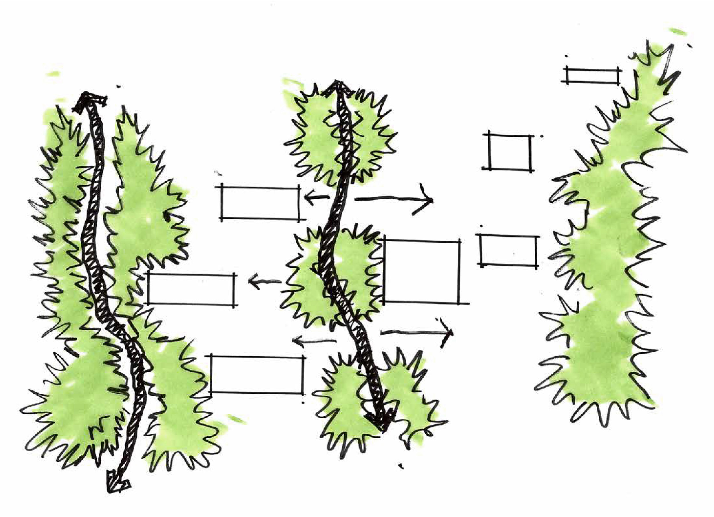 privacy/circulation conceptual diagram