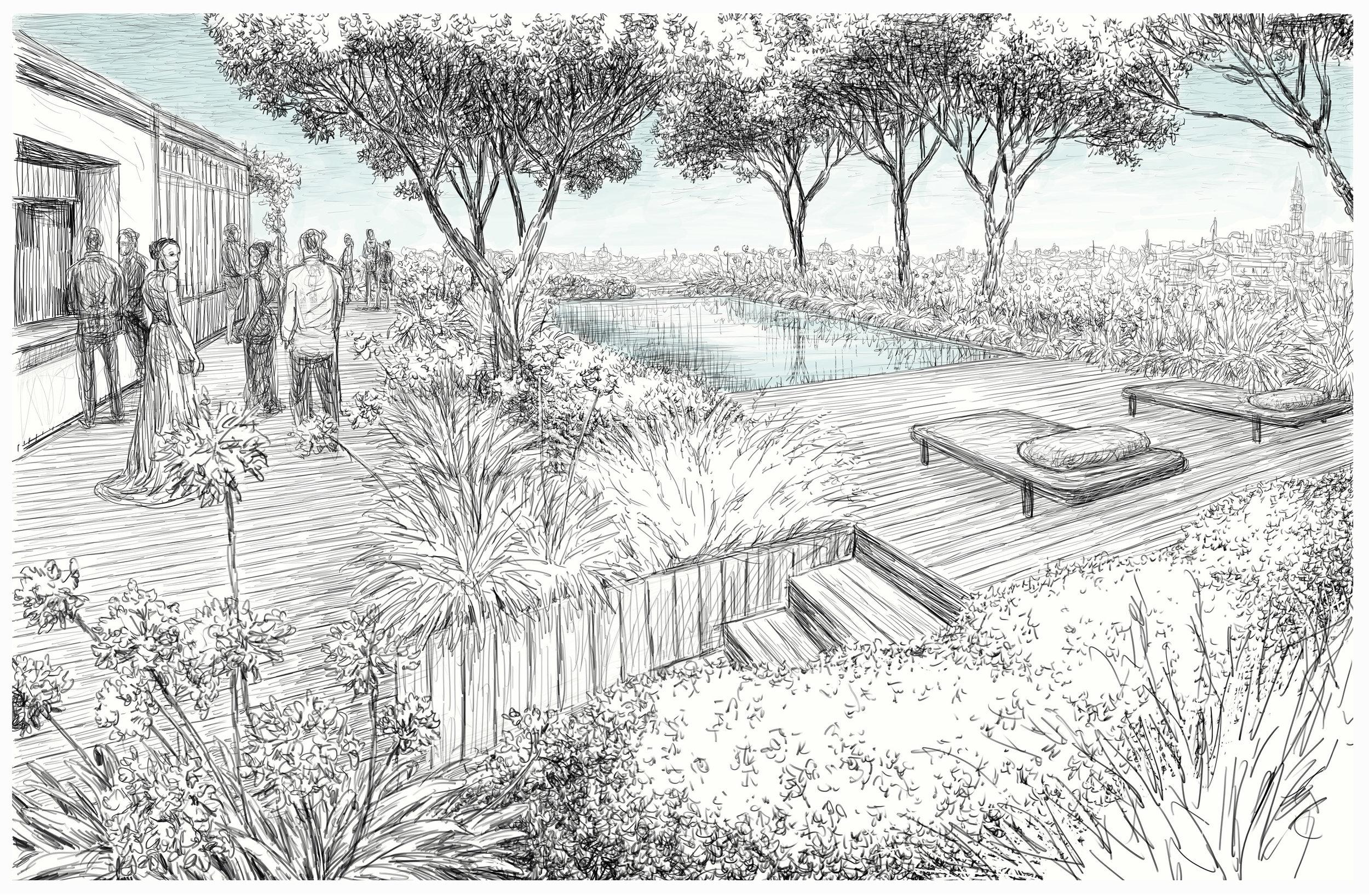 building 1 rooftop (drawn by massimo milano / enea landscape architecture)