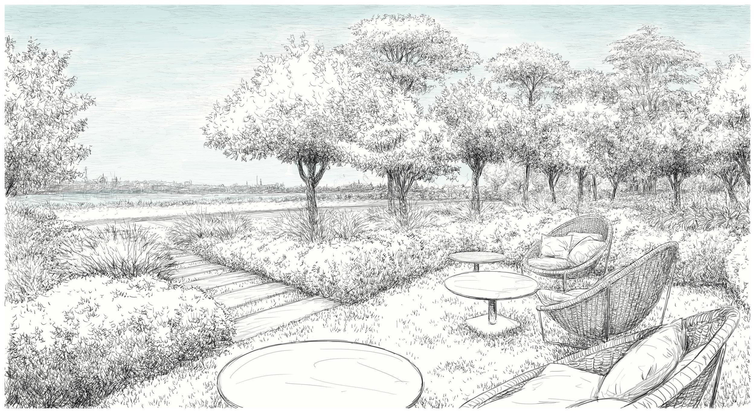 groundfloor garden space (drawn by massimo milano / enea landscape architecture)
