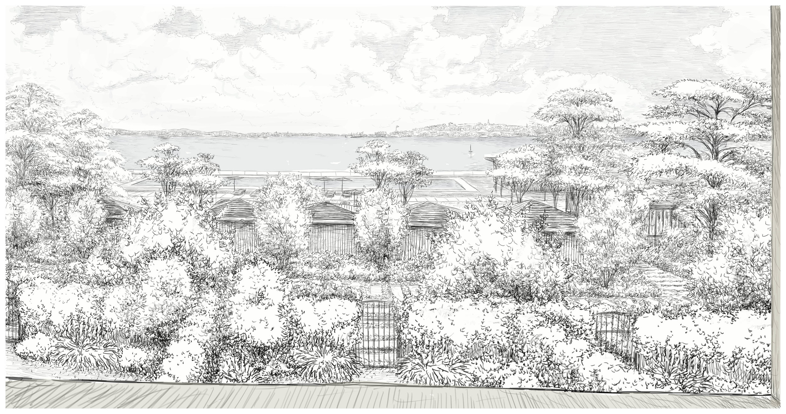 view from building 1 of pool grounds (drawn by massimo milano / enea landscape architecture)