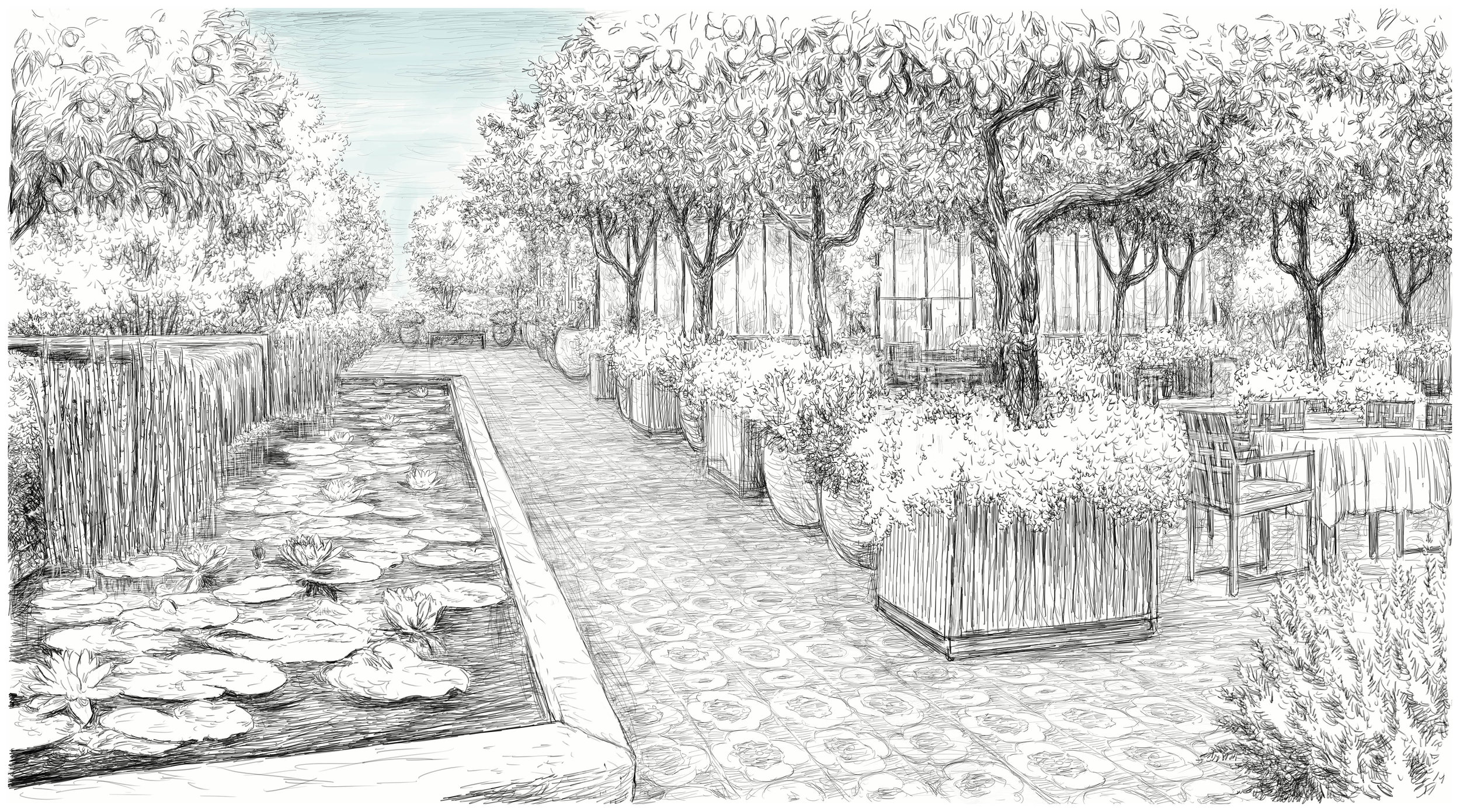building-2 rooftop terrace (drawn by massimo milano / enea landscape architecture)