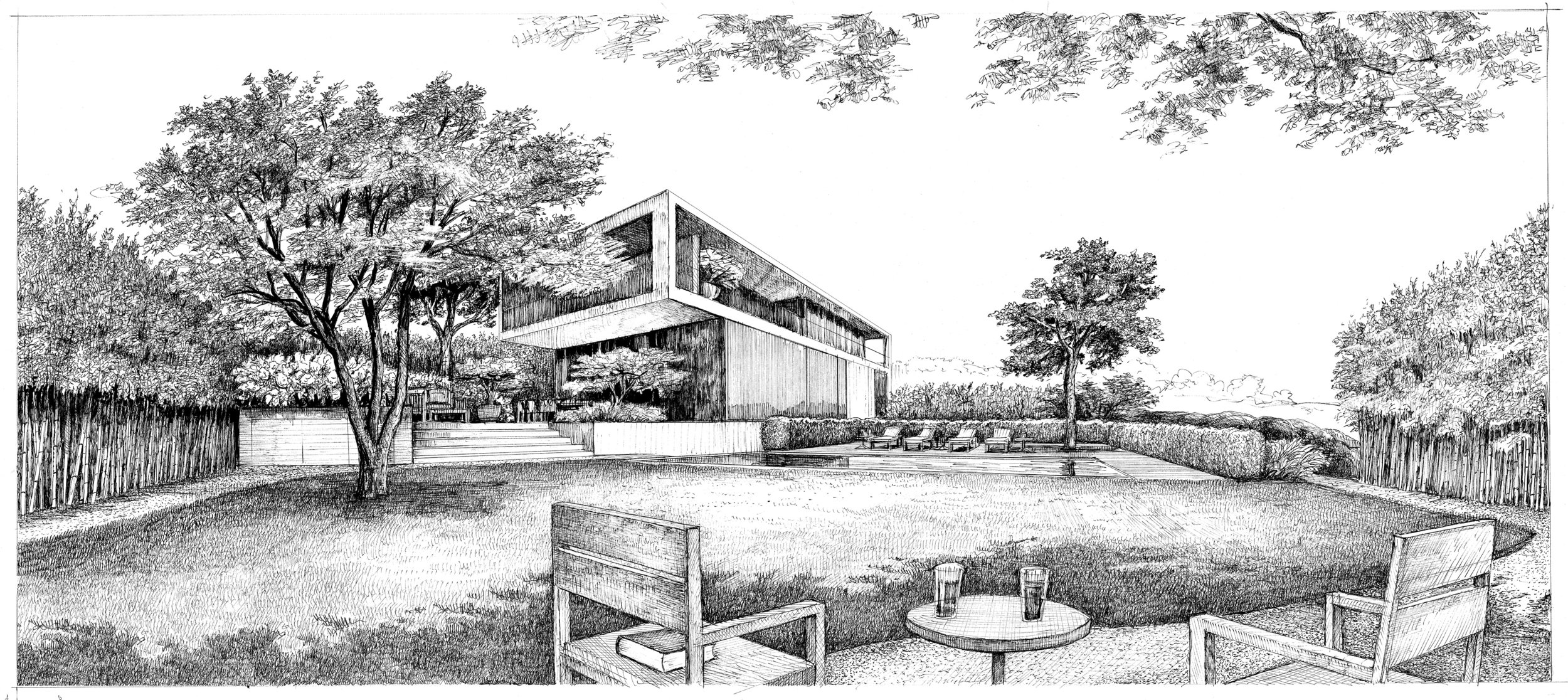 children's lawn and pool terrace view (drawn by Bruno Moser / enea landscape architecture)