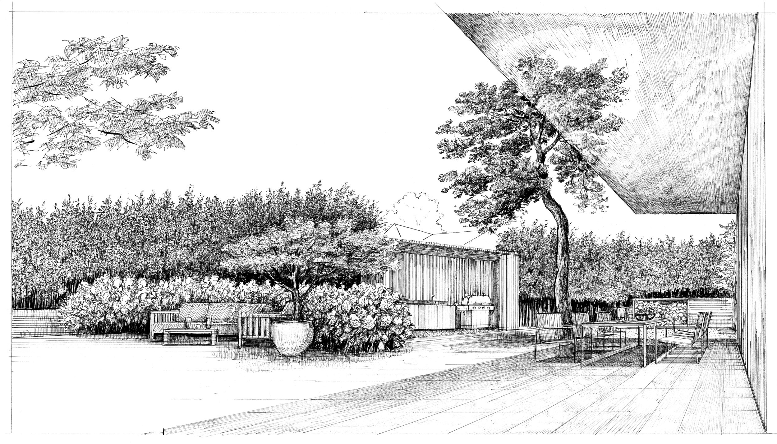 outdoor lounge and kitchen view (drawn by Bruno Moser / enea landscape architecture)