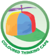 Coloured thinking caps button