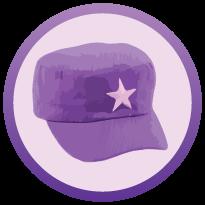 5 purple coloured thinking cap