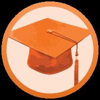 6 orange coloured thinking cap