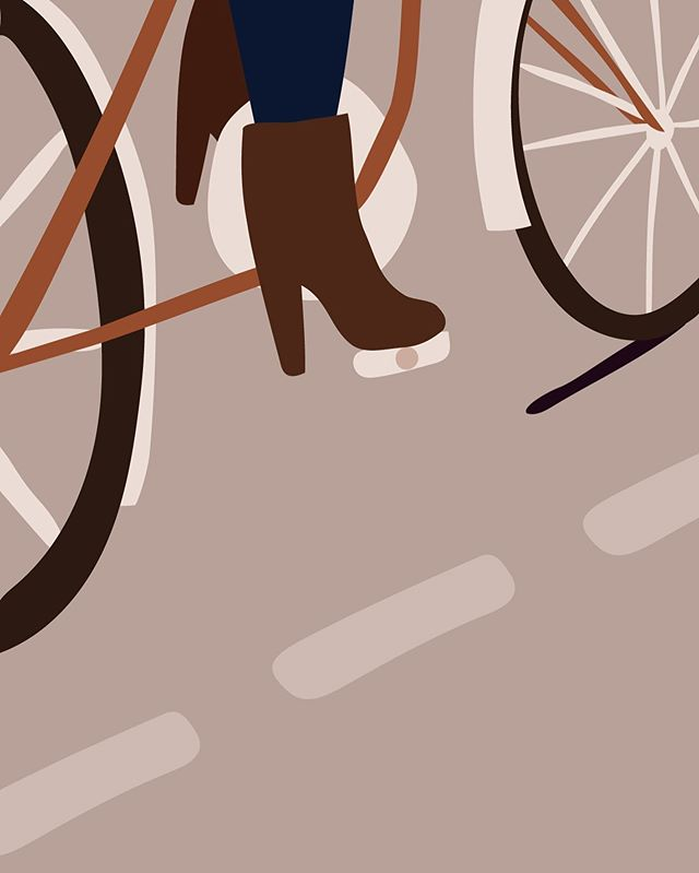 I'm glad to live in a town with a big bike culture. Bicyclists are being respected and bike lanes are nearly everywhere. Funnily in the city center you're often faster if you go by bike than by a car. There are many pluses to it: starting from your own fitness and ending on reducing the pollution. . #bike #bicycle #illustration #illustrator #polishillustrator #illustrative #computerart #digitalart #dailyillustration #illustrationdaily #citybike #bikeinacity #heels #girl #woman #graz