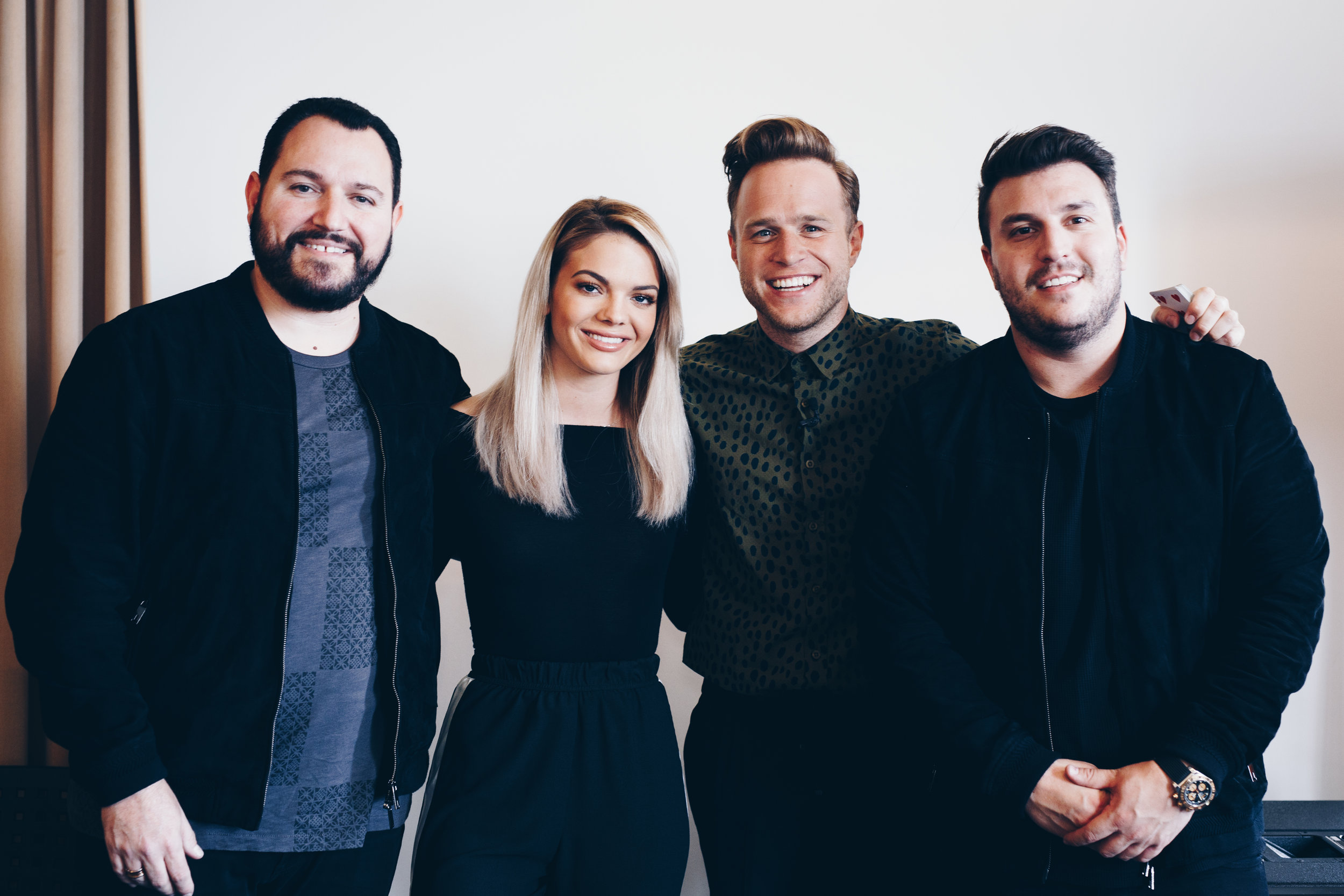 Britain's Got Talent finalists, DNA Mind Readers with Olly Murs and Louisa Johnson at the Sony Music UK Studios