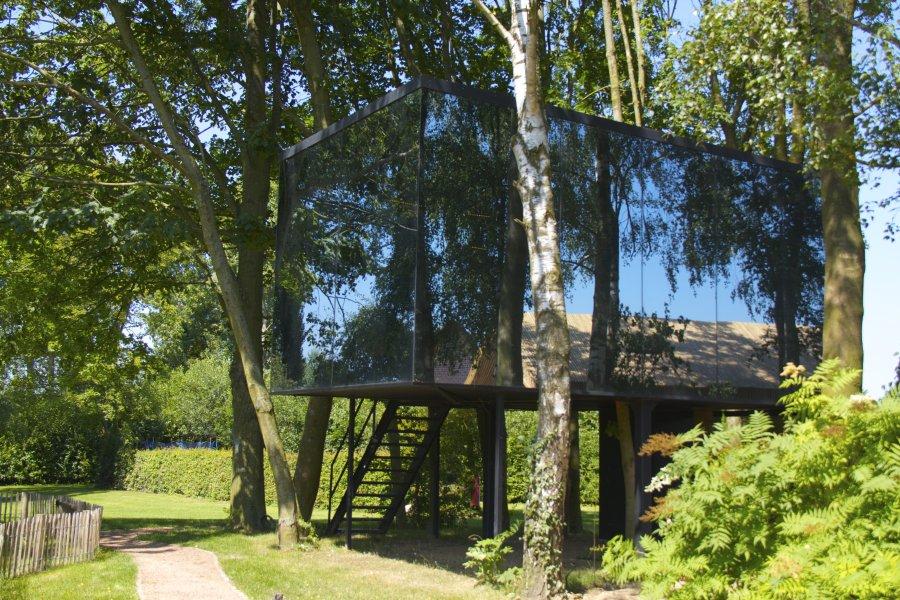 OnZE eigen sauna, infraroodcabine en relaxruimte in de bomen, met zicht op de zwemvijver
